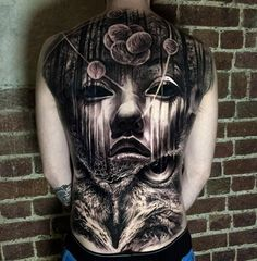 Mens Full Back Tattoo, Atom, Owl & Face | Best tattoo ideas & designs
