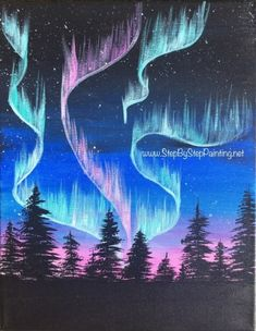 How to Paint Aurora Skyline – Step By Step Painting - Malerei Simple Canvas Paintings, Easy Canvas Painting, Spring Painting, Acrylic Painting Techniques, Diy Canvas Art, Light Painting, Acrylic Canvas, Painting Trees, Canvas Ideas