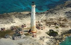 Abandoned lighthouse on Great Isaac Cay, The Bahamas