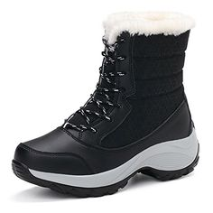 Buy Women Snow Ankle Boots Plush Waterproof Winter Ankle Snow Boots Women Platform Winter Black Shoes With Thick Fur Botas Mujer Winter Boots On Sale, Winter Snow Boots Women, Warm Winter Boots, Winter Shoes For Women, Ankle Snow Boots, Platform Ankle Boots, Black Boots, Ankle Shoes, Ski Boots