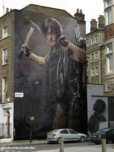 "Norman Reedus Norman Reedus Daryl Dixon ""Street Art""... Daryl pic superimposed on THAT wall :)"