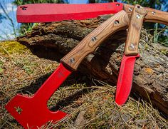 "Buck Knives Compadre Series  The iconic Buck Knives brand has just debuted its Compadre Series, a set of implements that feature a red powdercoat finish to protect against rust & corrosion. The set includes a full-tang 9.5"" knife, a hatchet, & a machete-like chopping froe. All feature walnut handles"