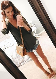 #summer #lovely #fashion | Olive Tunic + Cut Offs