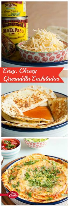 This mash-up meal is made with a base of crispy, fried quesadillas topped with enchilada sauce, cheese and your favorite fixins. And it's much easier than rolling up a pan of traditional enchiladas. Click through for the recipe and step-by-step instructions and photos!