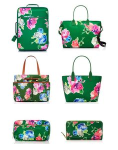 Kate Spade green + floral luggage! Chic travel!