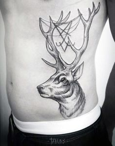 Guys Awesome Deer With Antlers Rib Cage Side Tattoo …