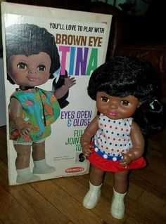 Vintage 1969 Black Remco Brown Eye Tina Doll Large Annuel Mcburrows Designer   eBay