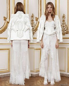 Givenchy Fall 2010  Haute Couture, by Riccardo Tisci - Calavera: dress in bone white tulle  embroidered with hand cut lace motifs and cornelli work in silk chiffon,  ribbon and thread. Worn with a jacket in matching cotton double duchess  embroidered with alabaster stones, silk thread and three dimensional  'porcelain' coated lace motifs and a body suit in fine knitted silk