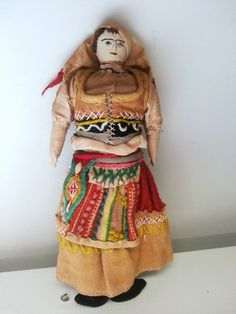 Very Old Hand Sewn Cloth Ethnic Peasant Doll Embroidered Face Slavic? Polish?  #Dolls