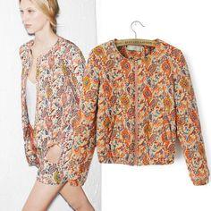 ZARA MICN2014 новых осенью и зимой в Европе и Америке ретро Пейсли шаблон хлопка пальто куртки небольшой женской - Taobao