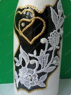 Декор предметов Свадьба Декупаж свадебный набор Бутылки стеклянные фото 5