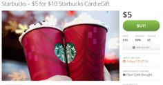 Groupon *HOT* $10 Starbucks eGift Only $5 - Limited Quantities!