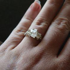 Diamond Engagement Ring, Raw Diamond Engagement Ring, Size 7 Wedding Ring, Rough Diamond Wedding Band, Art Deco Engagement Ring, Avello by Avello on Etsy https://www.etsy.com/listing/233274807/diamond-engagement-ring-raw-diamond