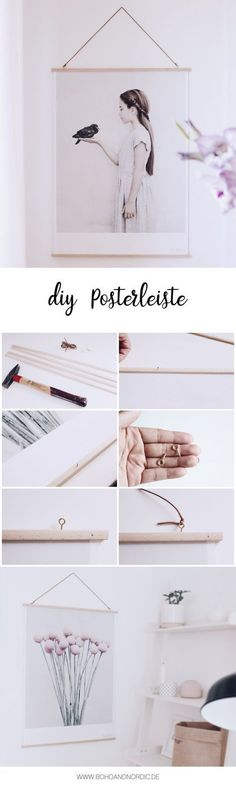 DIY Deko - Posterleiste aus Holz selber machen. DIY Wohnen - Bilder schön eingerahmt.