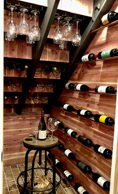 Used the awkward space under the basement stairs to build a wine room. Used copper tubes so the wine looks like it floats. Under Stairs Wine Cellar, Wine Cellar Basement, Room Under Stairs, Basement Stairs, Basement Ceilings, Basement Ideas, Home Wine Cellars, Wine Cellar Design, Home Bar Designs