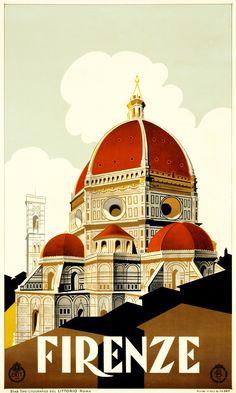 Firenze / Vintage Travel Poster for Florencia www. - Firenze / Vintage Travel Poster for Florencia www. Vintage Italian Posters, Vintage Travel Posters, Vintage Ads, Vintage Style, Vogue Vintage, Design Vintage, Art Vintage, Vintage Horror, Vintage Canvas