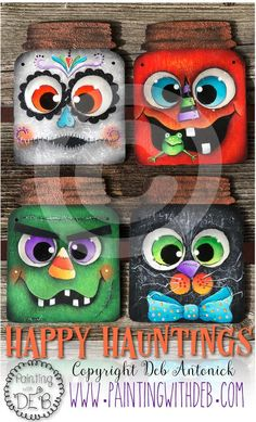 halloween manualidades Halloween Hauntings by Deb Antonick, email pattern packet Dulceros Halloween, Halloween Wood Crafts, Halloween Painting, Halloween Signs, Holidays Halloween, Halloween Pumpkins, Holiday Crafts, Halloween Decorations, Halloween Ornaments