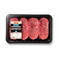 USDA Choice Chuck Tender Steak - - priced per lb Gender: unisex. Boeuf Angus, Angus Beef, Chuck Tender, Beef Chuck Steaks, Healthy Dinner Recipes, Snack Recipes, Minis, Tender Steak, Food Packaging Design