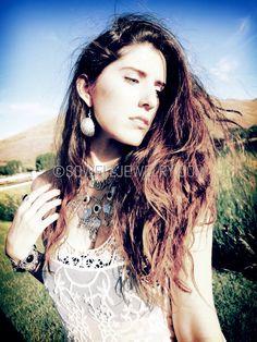 Bayarmaa Silver Boho Necklace Color: Black/Turquoise/Ruby