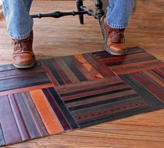 Upcycled & Repurposed Belts - this would be awesome in the office for under the rolling chair. Protects the hardwood floor but isn't a huge piece of off-gassing plastic.
