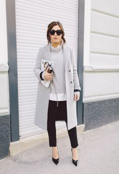 Try pairing a grey coat with black skinny jeans and you'll look like a total babe. For the maximum chicness go for a pair of black leather pumps.   Shop this look on Lookastic: https://lookastic.com/women/looks/coat-turtleneck-skinny-jeans/7735   — Black Sunglasses  — Grey Turtleneck  — Black Leather Pumps  — Black Skinny Jeans  — Grey Coat
