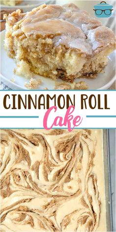 This Homemade Cinnamon Roll Cake dessert has all the flavor of a cinnamon roll but in an easy cake with a vanilla icing drizzled on top! and desserts homemade Cinnamon Desserts, 13 Desserts, Cinnamon Recipes, Plated Desserts, Easy Bake Desserts, Vanilla Desserts, Gourmet Desserts, Baking Desserts, Cinnamon Sugar Cake Recipe