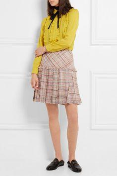 Multicolored wool-blend tweed  Concealed hook and zip fastening at side 76%…