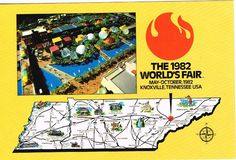 World's Fair Postcard 1982 Knoxville Tennessee Map Color Unused Chrome Souviner