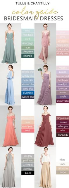 Tulle and chantilly color guide 2020 green blue pink gray red wedding color ideas with bridesmaid dresses Tulle and chantilly color guide 2020 green blue pink gray red wedding color ideas with bridesmaid dresses Bridesmaid Dress Colors, Wedding Bridesmaid Dresses, Wedding Gowns, Bridal Dresses, Red Wedding, Wedding Colors, Wedding Day, Summer Wedding, The Dress