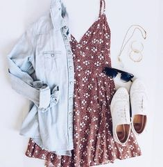 49 Cute Summer Outfits | Fashion Inspiration @stylincafe --- denim shirt. chambray shirt. floral dress. white sneakers.