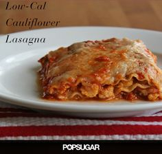 Spicy cauliflower lasagna. Less than 350 calories + 18 grams of protein per serving!