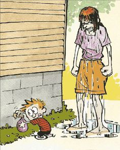 Calvin and Hobbes animated gif, The Water Balloon... uh oh, Mom is mad!!