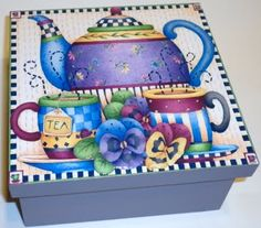 Caja de te Más Decoupage Box, Decoupage Vintage, Tole Painting, Painting On Wood, Diy And Crafts, Arts And Crafts, Recycled Art, Box Art, Toy Chest