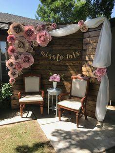 A Rustic Vintage Bridal Shower in Utah - New ideas Bridal Shower Backdrop, Diy Wedding Backdrop, Bridal Shower Rustic, Bridal Shower Decorations, Diy Wedding Decorations, Rustic Wedding Showers, Decoration Evenementielle, Backdrop Decorations, Backdrop Ideas