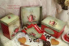 """Купить Чайный набор """"Victoria Tea"""" - ярко-красный, чайный набор, чайный короб"""