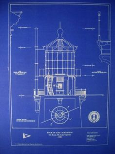 "Lighthouse Lens Rock of Ages Lake Superior 1908 Blueprint Plan 16""x20"" 295 