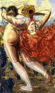 L'Âme du Vin, Carlos Schwabe, c. 1900    An illustration for Les Fleurs du Mal by Charles Baudelaire