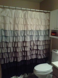 Fabric Ruffled Shower Curtain by Tw0Birds on Etsy, $115.00