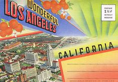 A photo pack of the sites of Los Angeles. Postage 1 and 1/2 cents.