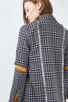 Check blazer with cut-outs at elbow and fluted sleeves. Co-ord available. #Topshop