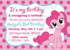 Pinkie Pie Party Invitation! My Little Pony ONLY $10 to download & FREE to print as many as you like, anywhere you like!