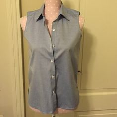 NWOT Talbots Petite Baby Blue Sleeveless Top, 4 New, never worn baby blue sleeveless button down. Wrinkle resistant, side slits. Petite size 4 Talbots Tops Button Down Shirts