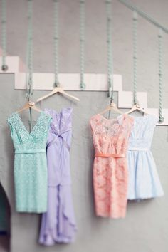 #Pastel #Bridesmaids Dresses | See the wedding on SMP - http://www.StyleMePretty.com/little-black-book-blog/2014/01/09/whimsical-pastel-coral-gables-country-club-wedding/ Laura Leslie Photography