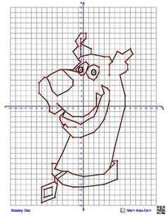 Scooby Doo Coordinate Graphing quadrant graphing picture from… Graph Paper Drawings, Graph Paper Art, Graphing Worksheets, Hidden Pictures, Stem Projects, Scooby Doo, Microscope Parts, Doodles, Algebra