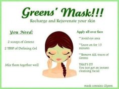 Use It Works Greens and Defining Gel to create a mask that will help tighten tone and firm your face!! suwayham.myitworks.com