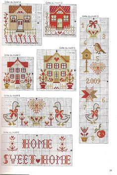 Houses cross stitch pattern