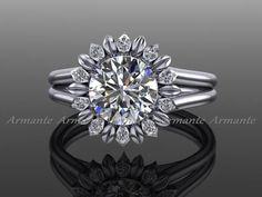Sunflower Moissanite Ring, 14K White Gold Diamond Floral Engagement Ring RE00032 by Armante on Etsy https://www.etsy.com/listing/166669867/sunflower-moissanite-ring-14k-white-gold