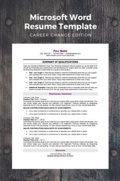 Microsoft Word Document proven to help job seekers making a major career change pass Applicant Tracking software used by mid-size to large corporations and stand out to employers. Business Resume, Job Resume, Resume Tips, Resume Examples, Microsoft Word Resume Template, Modern Resume Template, Resume Templates, Free Printable Resume, Graphic Resume
