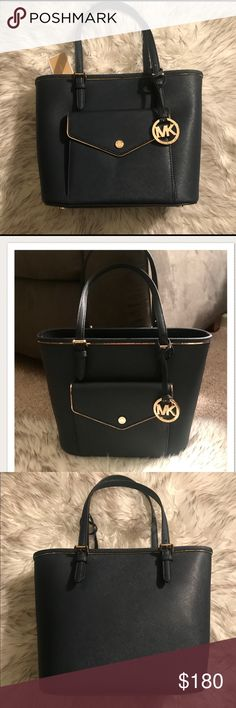 """NWT!! Michael Kors Safiano Leather Tote Perfect Gift, Brand new with tags!! Authentic Michael Kors Safiano Leather Tote in Navy Blue With Gold Hardware. Medium size Tote  Bag Length 14"""" Bag Height 9.5"""" Strap Drop 7.5"""" Michael Kors Bags Totes"""
