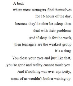 sleeping is a drug for teens
